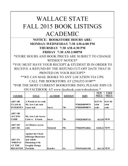 Textbook Price List - Wallace State Hanceville