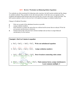 Balancing Redox Reactions Oxidation Number Method