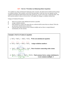 KEY Review: Worksheet on Balancing Redox Equations