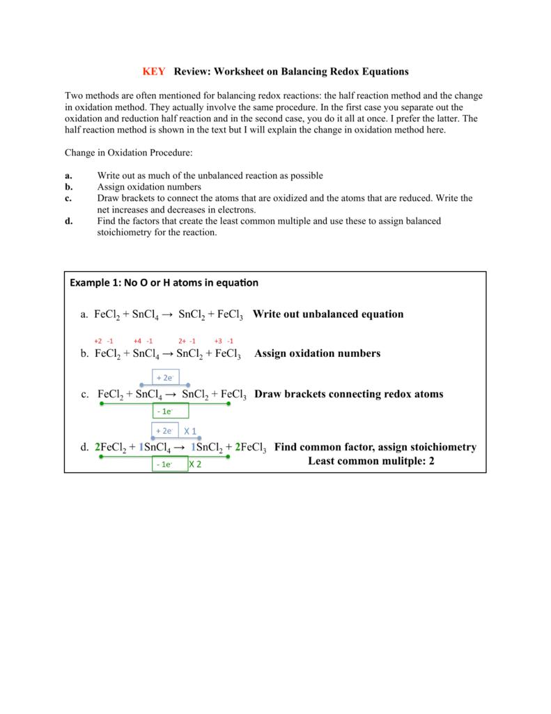 KEY Review: Worksheet on Balancing Redox Equations