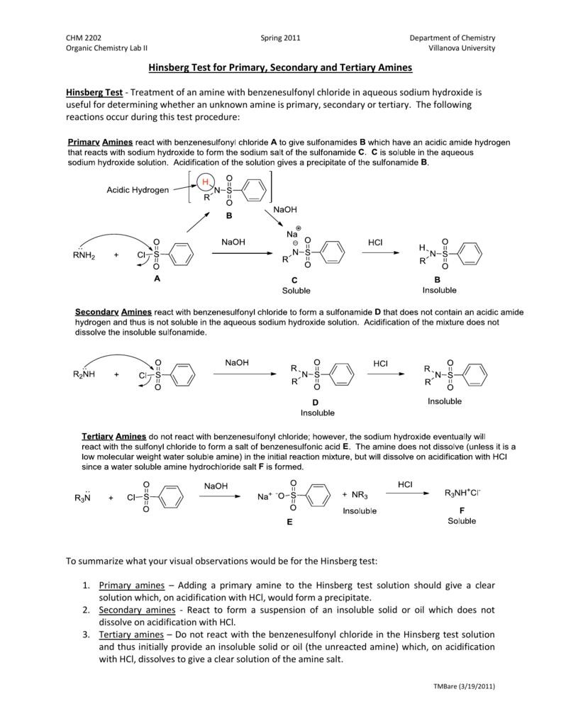 worksheet Amines Worksheet hinsberg test for primary secondary and tertiary amines