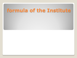 formula of the Institute