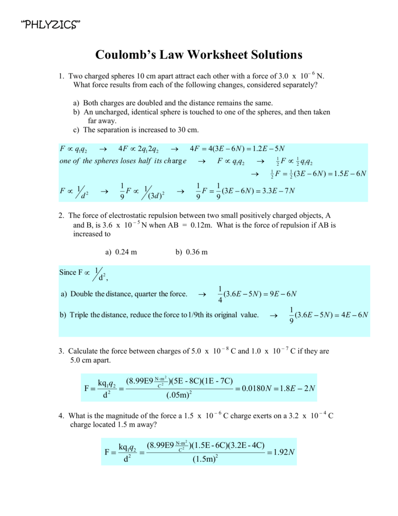 Coulombs Law Worksheet Solutions – Gravitational Force Worksheet