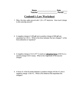 Coulomb's Law Worksheet