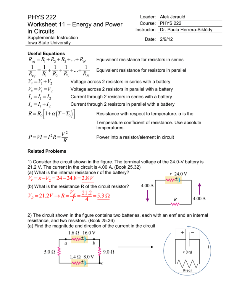 Phys 222 worksheet 11 energy and power in circuits answers robcynllc Images