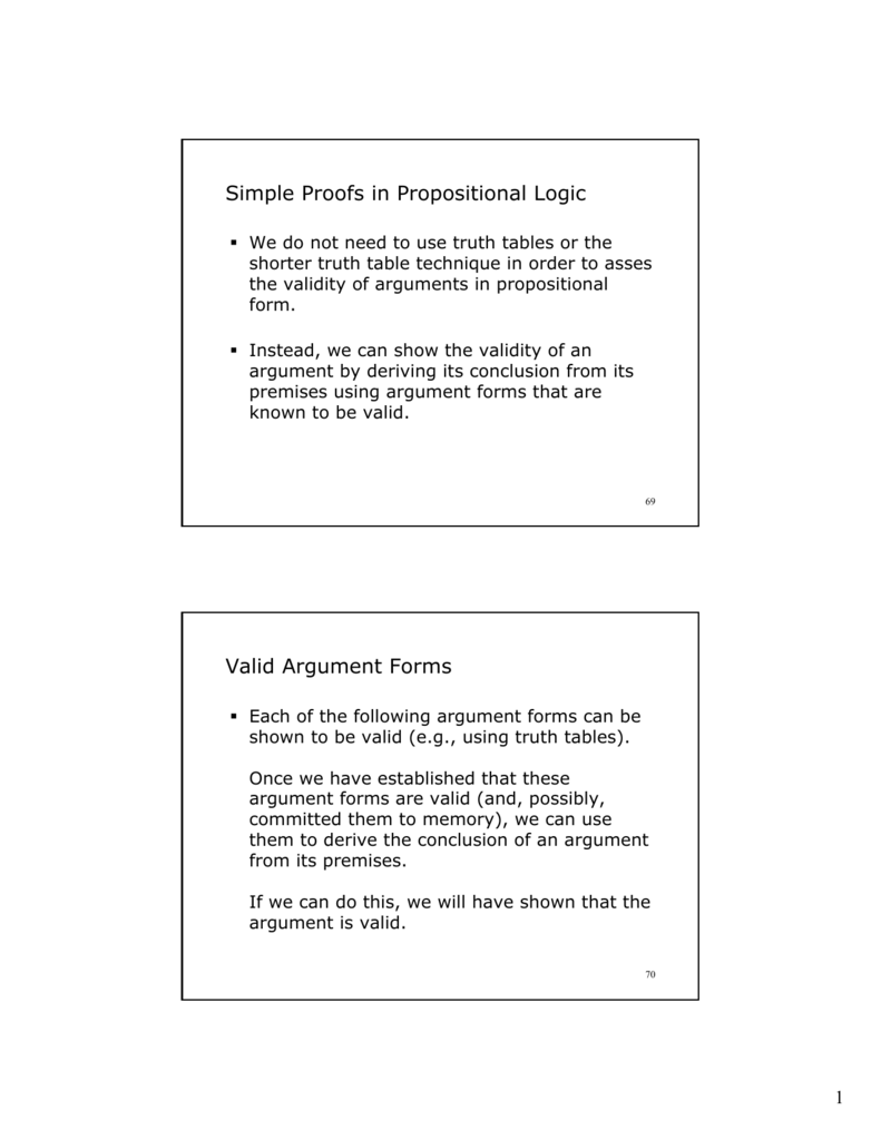 Simple Proofs in Propositional Logic Valid Argument Forms