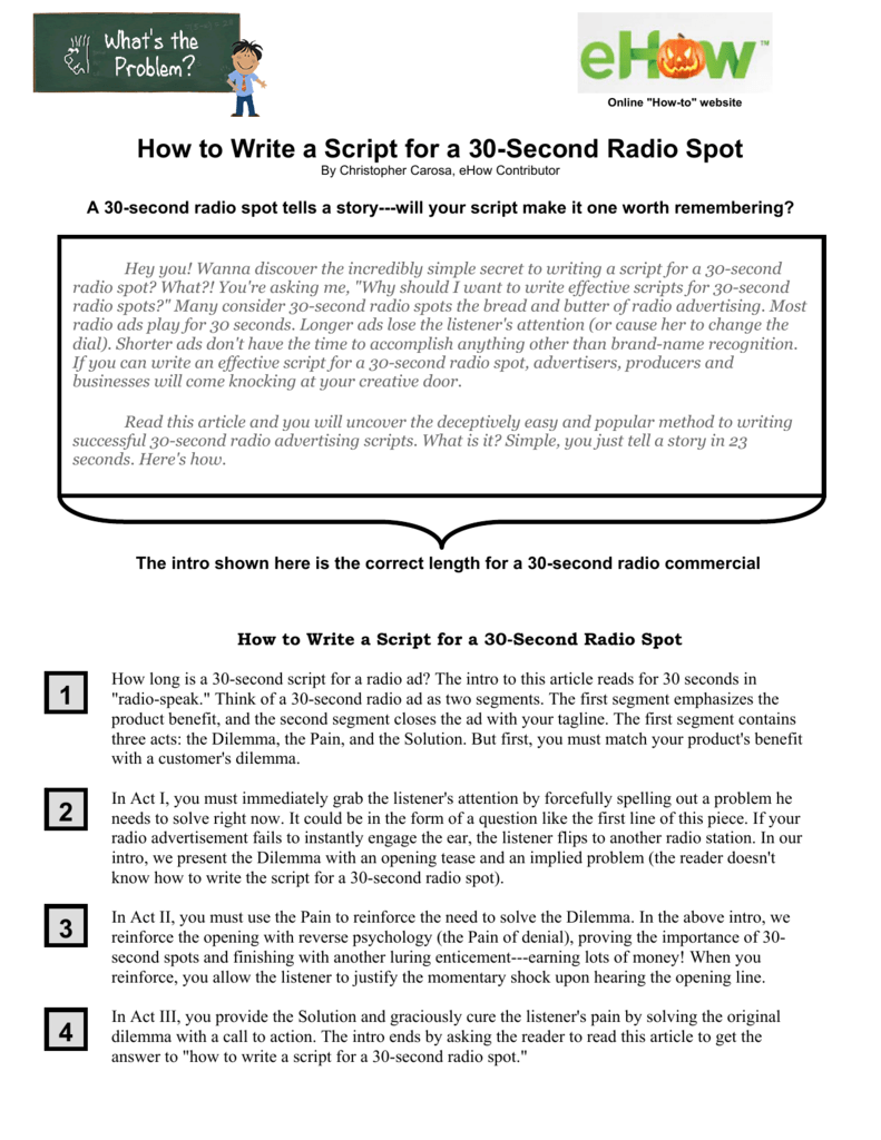 How to Write a Script for a 30-Second Radio Spot