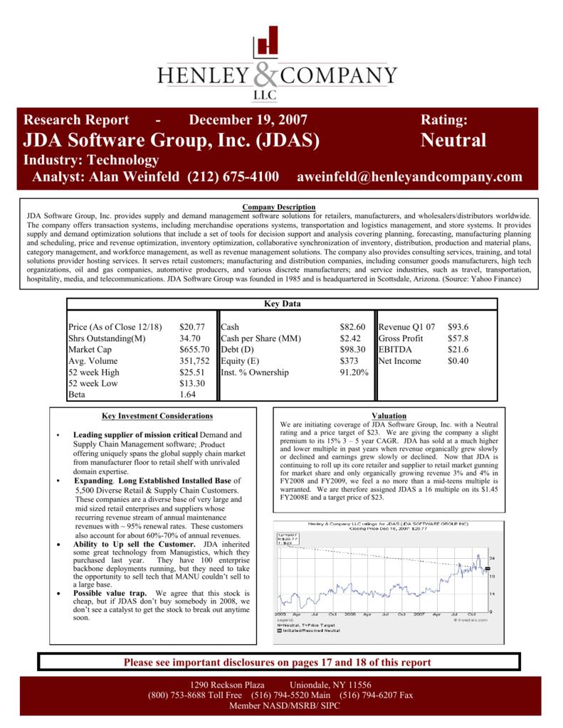 JDA Software - Henley & Company, LLC