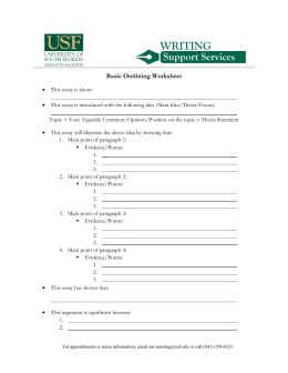 Basic Outlining Worksheet