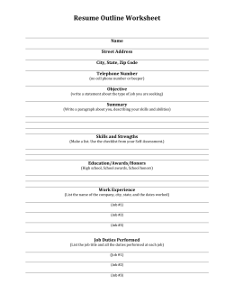 Resume Outline Worksheet