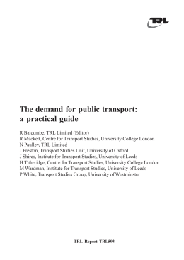 Free - The Demand for Public Transport: a Practical Guide