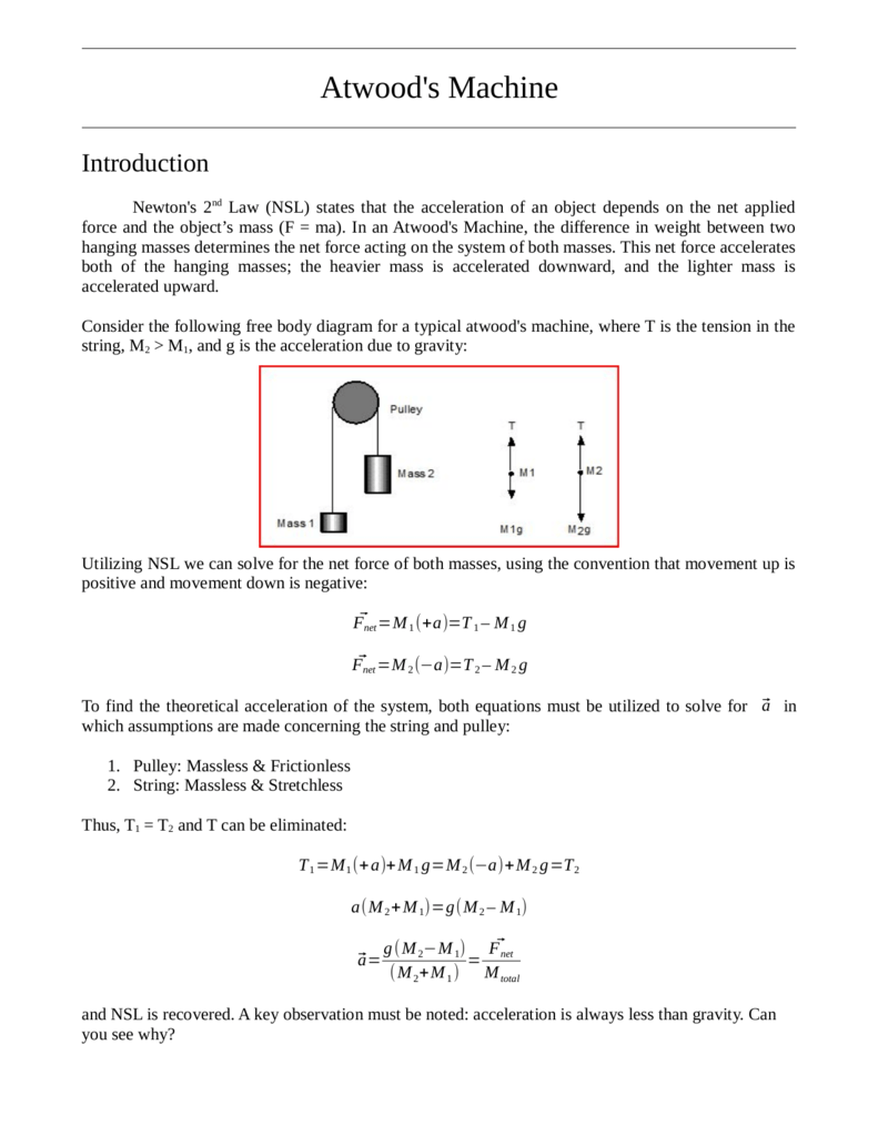 Lab Manual Acceleration Due To Gravity Diagram The Free Body For This