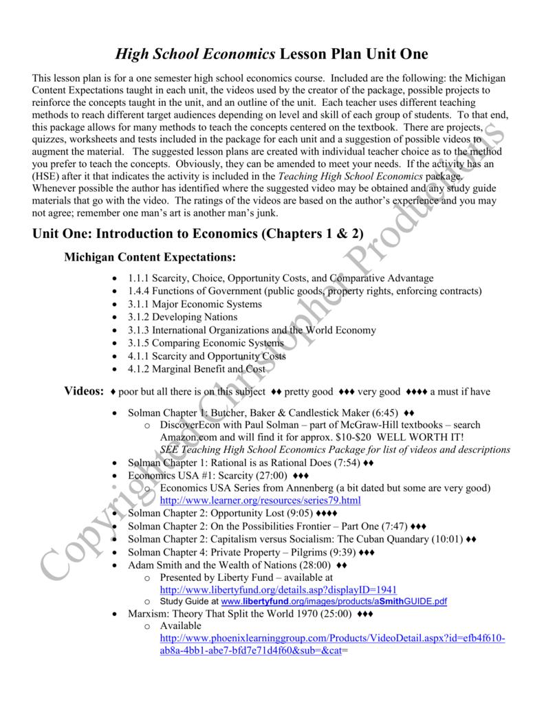 High School Economics Lesson Plan Outline and Video Outline – Economics Worksheets for High School