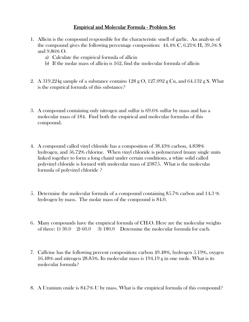 Empirical and Molecular Formula Worksheet – Empirical and Molecular Formula Worksheet