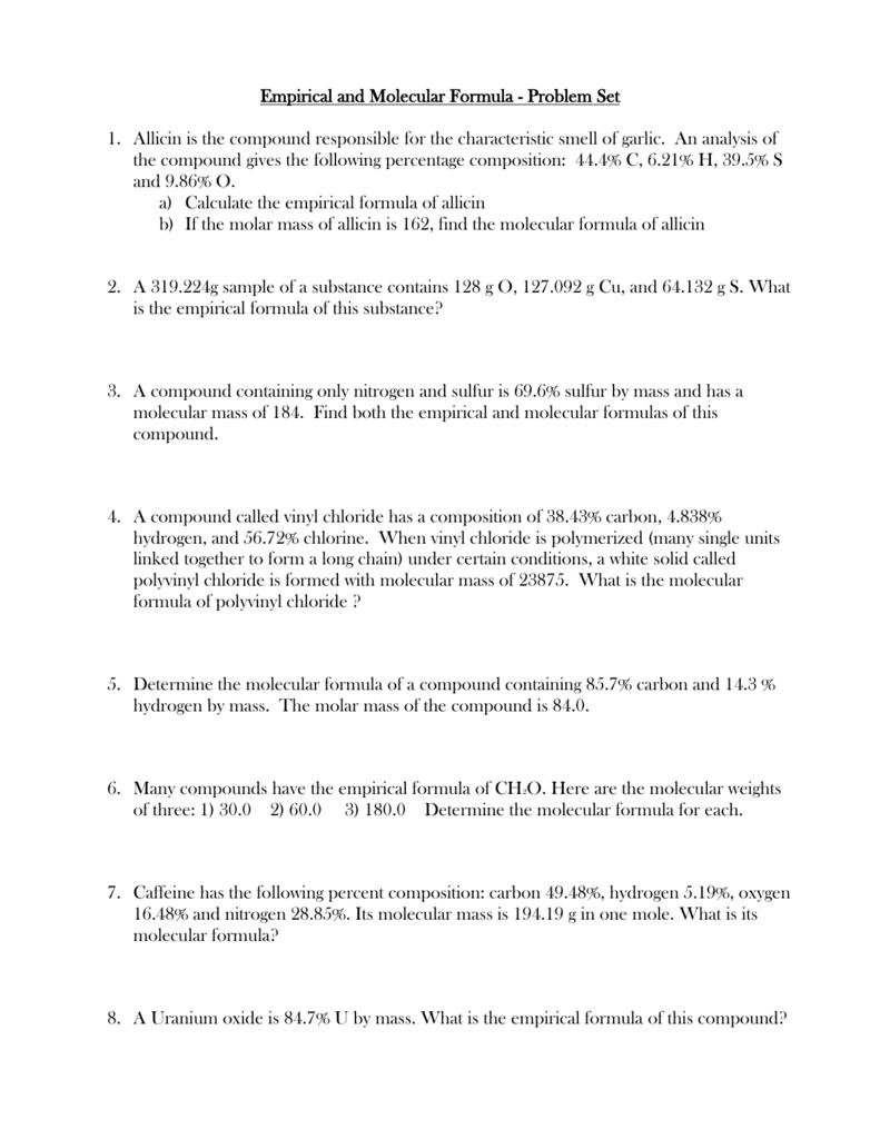 Worksheets Empirical And Molecular Formula Worksheet empirical and molecular formula worksheet