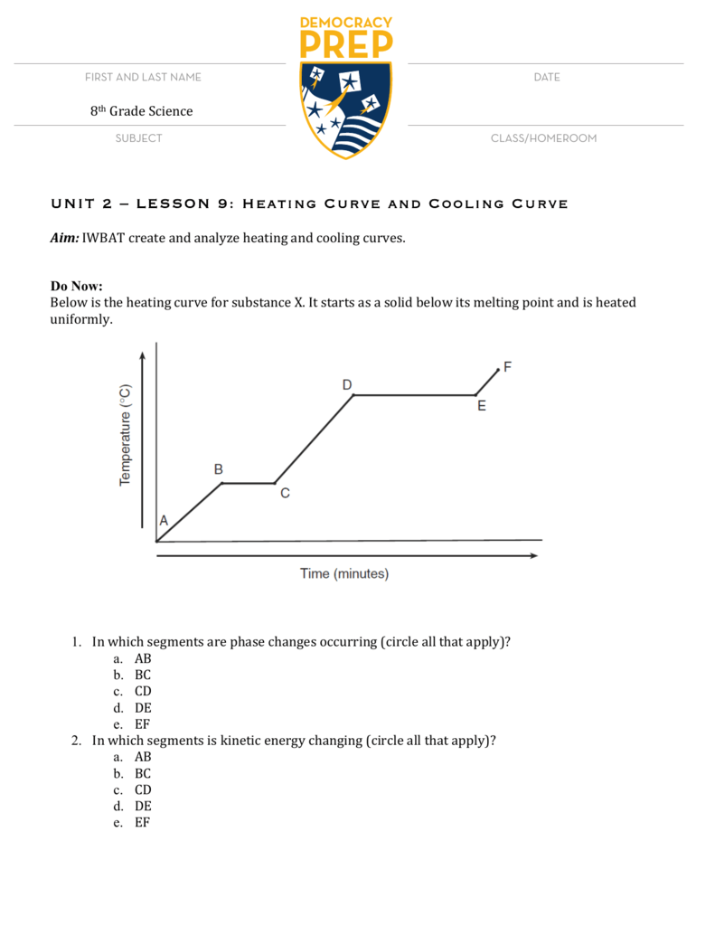 UNIT 2 LESSON 9 Heating Curve and Cooling – Heating Curves Worksheet