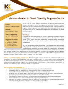 Visionary Leader to Direct Diversity Programs Sector