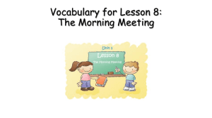 Vocabulary for Lesson 8: The Morning Meeting