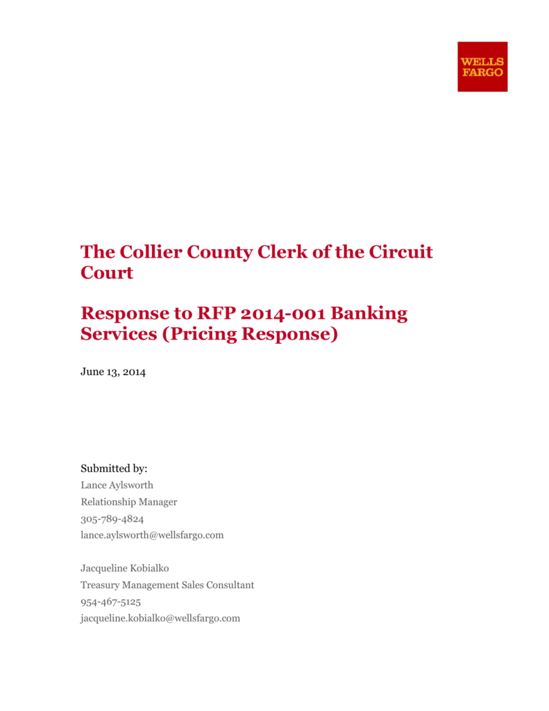 Wells Fargo Pricing Response - Collier County Clerk of the Circuit