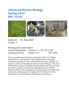 Advanced Marine Biology Spring 2015 BSC 4313C