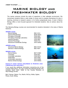 MARINE BIOLOGY and FRESHWATER BIOLOGY