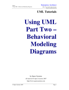 Using UML Part Two – Behavioral Modeling Diagrams