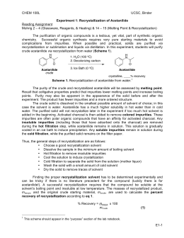 lab report of recrystallization of acetanilide Experiment 17  the preparation of acetanilide from aniline (previously listed as  experiment 23) acetanilide preparation.