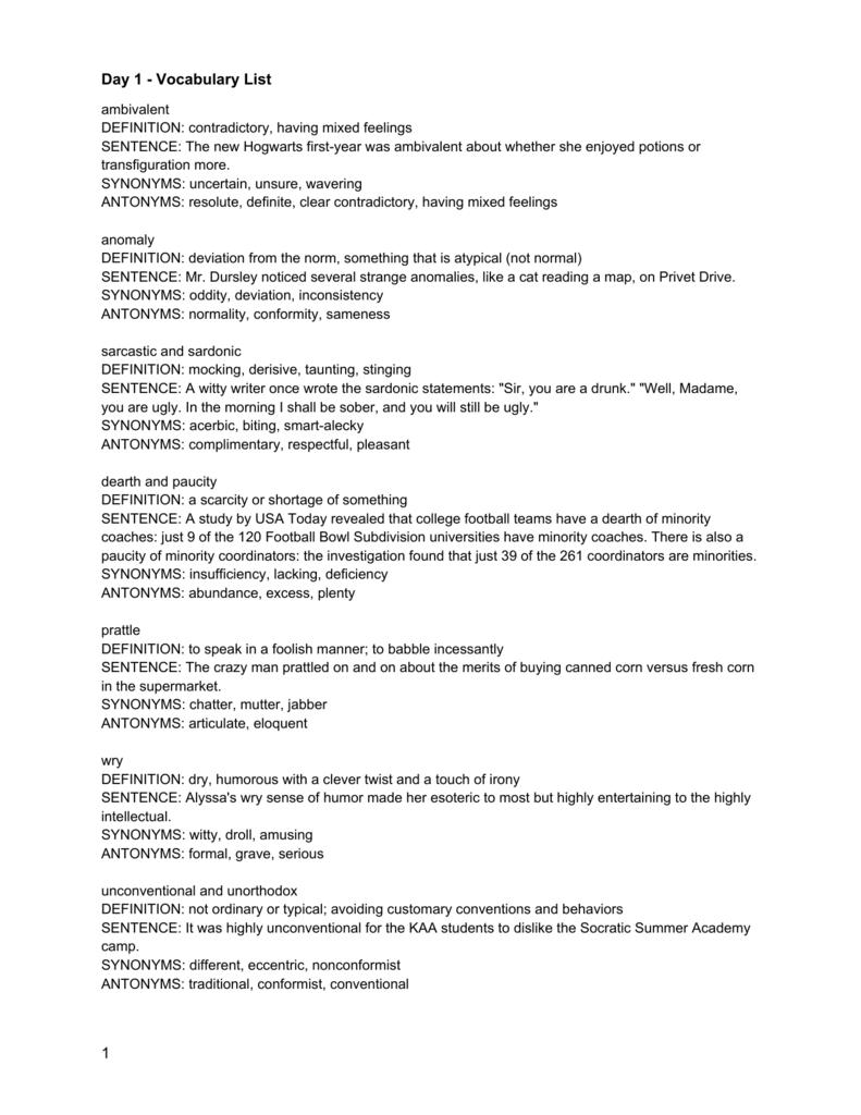 day 1 - vocabulary list 1