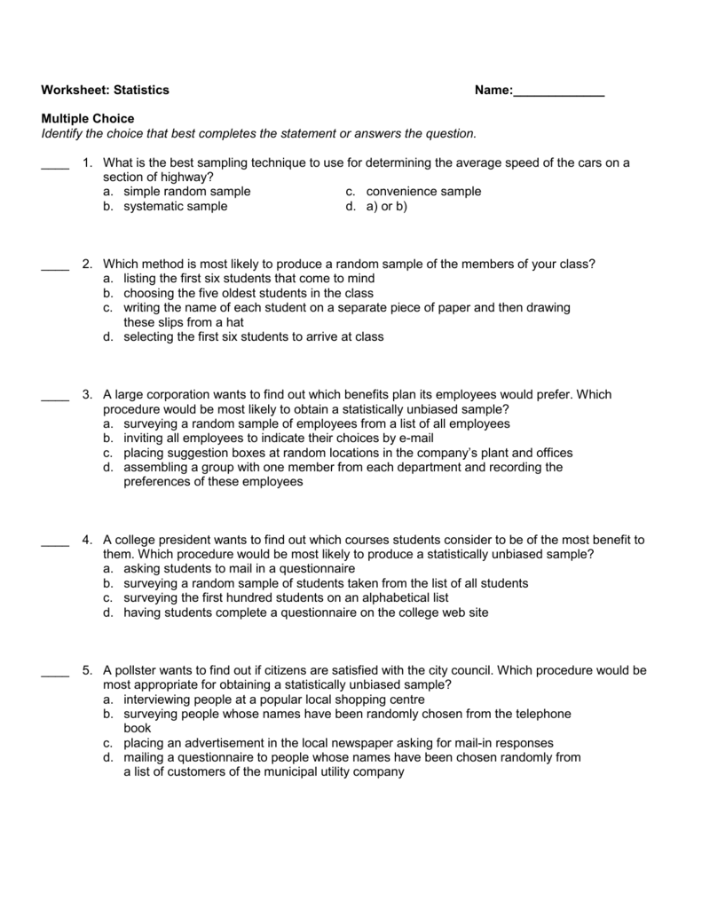 Samples and Surveys Worksheets | Random Sampling Worksheet