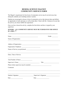 RESEDA SCIENCE MAGNET COMMUNITY SERVICE FORM