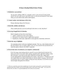 Ohl_10 Steps to Reading Political Science Writing