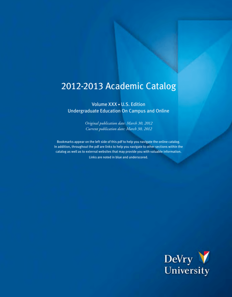 DeVry University Academic Catalog With Course - Devry university game design