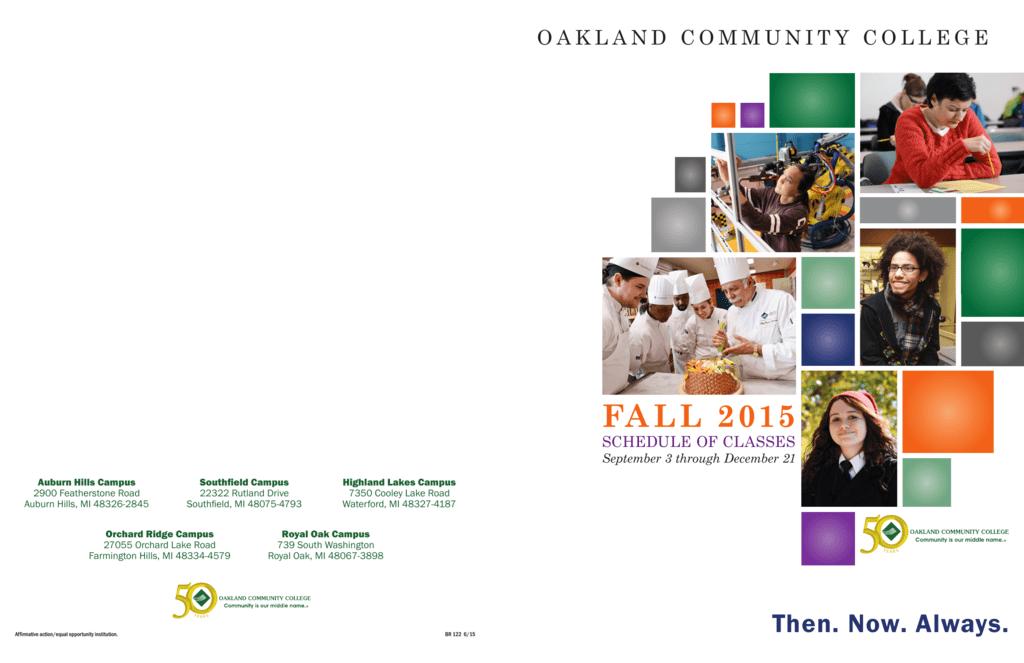Occ Royal Oak Campus Map.Fall 2015 Oakland Community College
