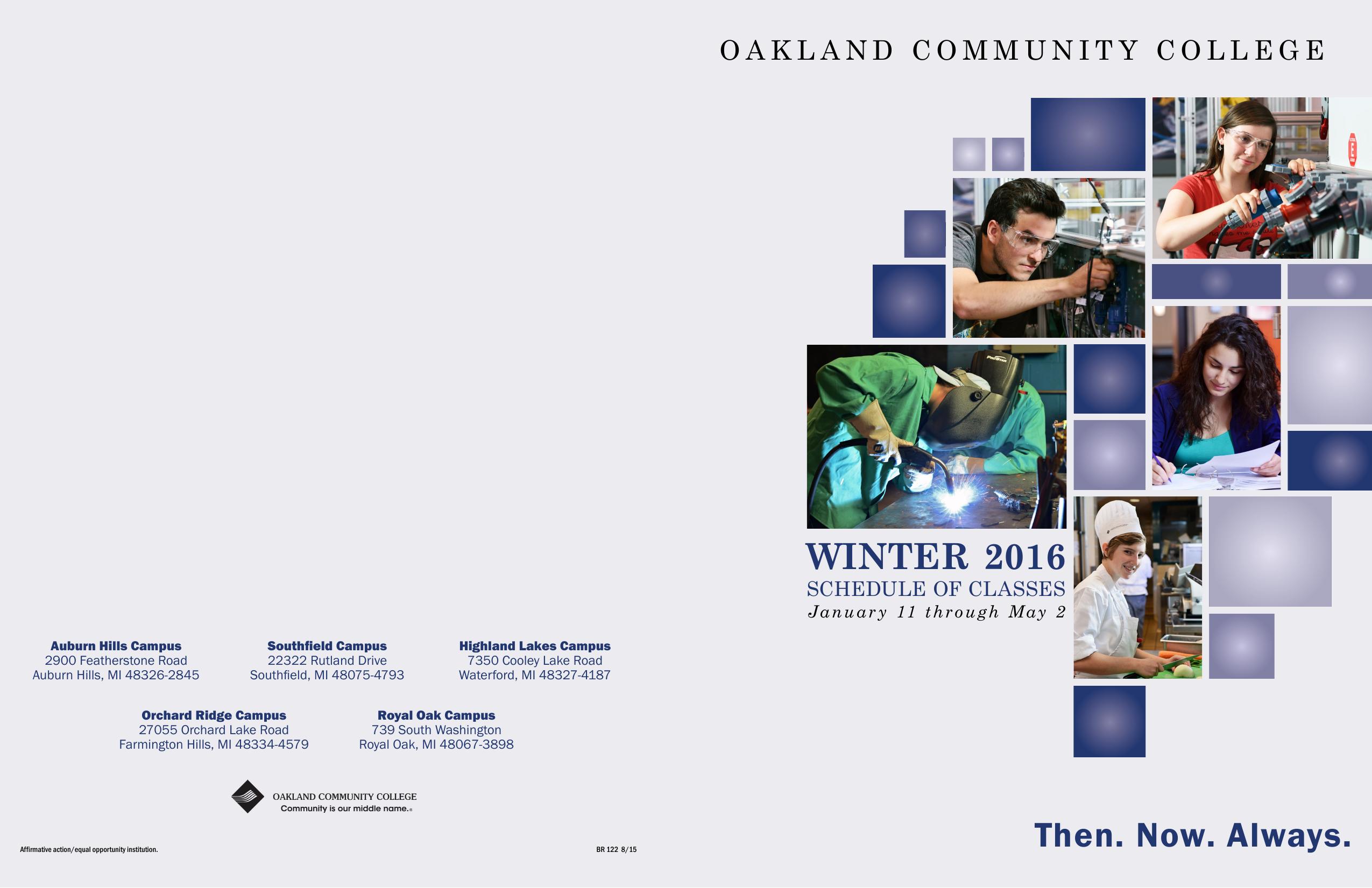 Occ Southfield Campus Map.Winter 2016 Scehdule Of Classes