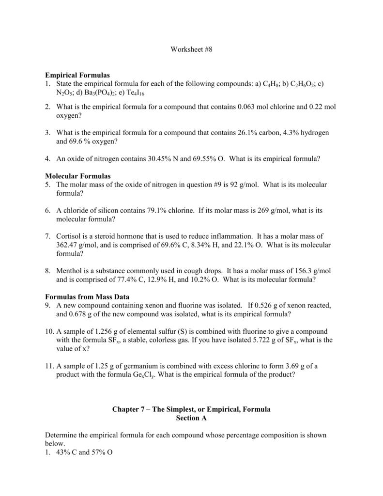 Worksheet 8 Empirical Formulas 1 State The Empirical Formula For
