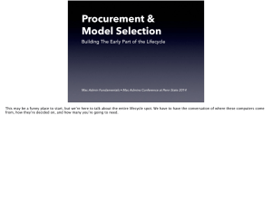 Procurement and Model Selection