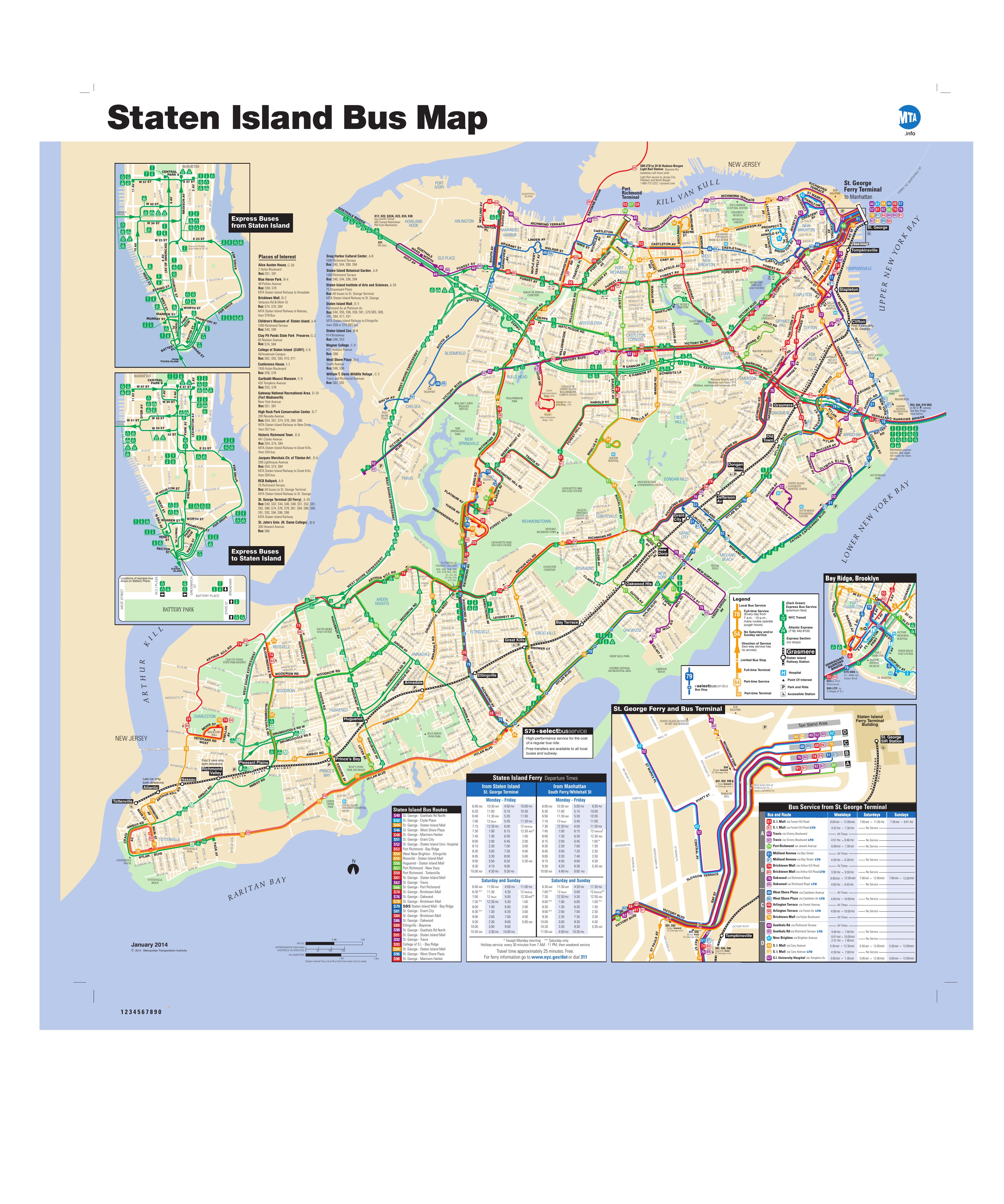 Staten Island Bus Map January 2014