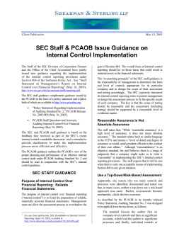 SEC Staff & PCAOB Issue Guidance on Internal Control