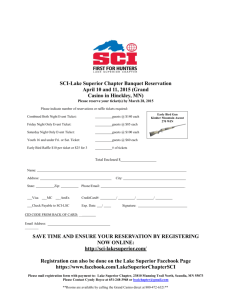 SCI-Lake Superior Chapter Banquet Reservation April 10 and 11