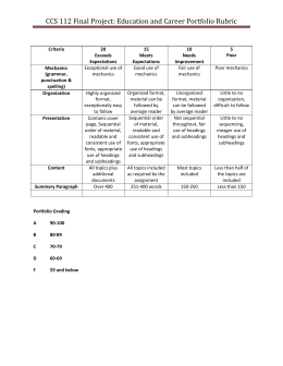 CCS 112 Final Project: Education and Career Portfolio Rubric