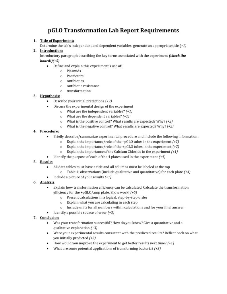 pglo lab report