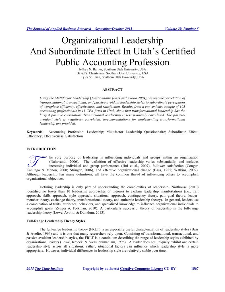 organizational leadership and subordinate effect in utah's