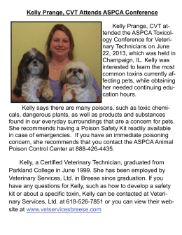 Kelly Prange, CVT Attends ASPCA Conference Kelly Prange, CVT at