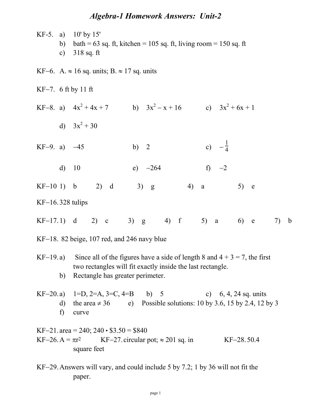Algebra-1 (CPM-1) Unit