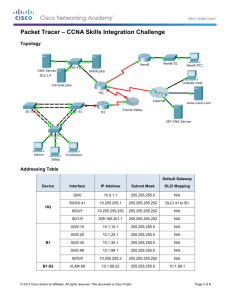 Packet Tracer – CCNA Skills Integration Challenge