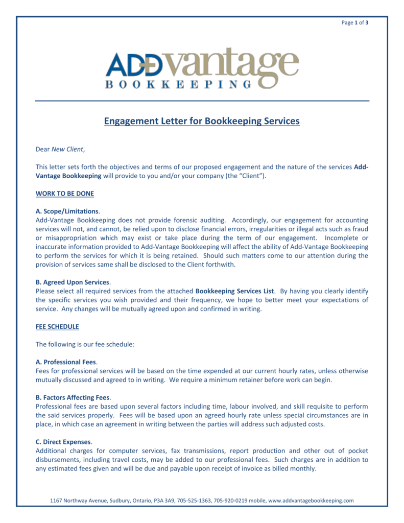 Cpa Bookkeeping Engagement Letter from s3.studylib.net