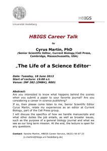 "HBIGS Career Talk ""The Life of a Science Editor"""