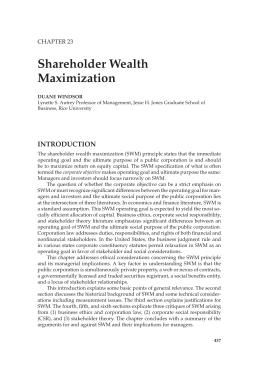 shareholders wealth maximization