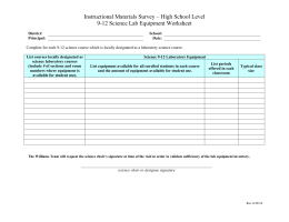 High School Level 9-12 Science Lab Equipment Worksheet