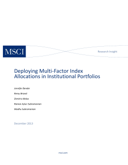 Deploying Multi Factor Index Allocations